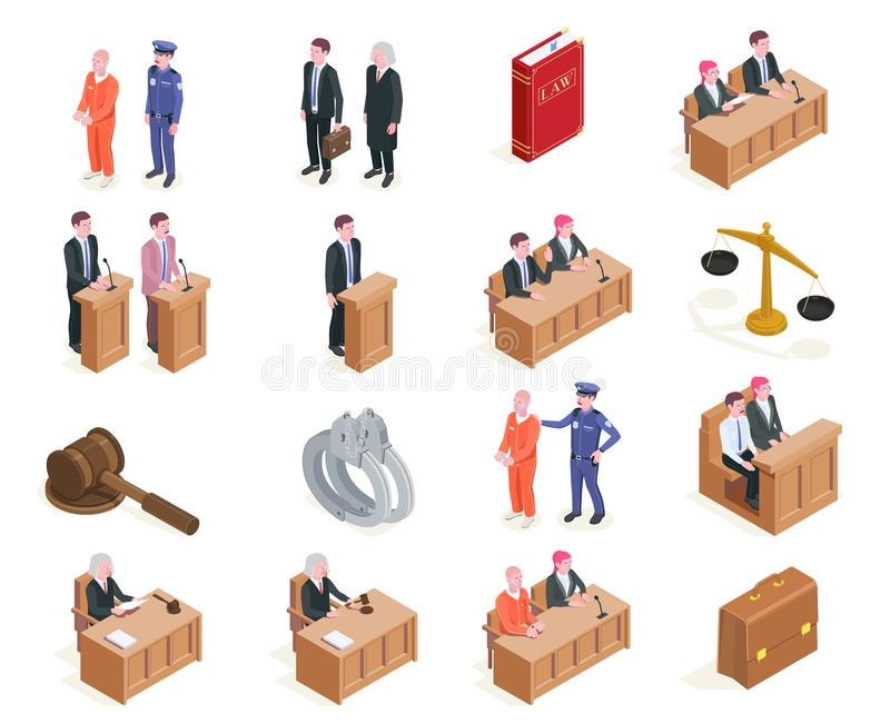 Law Isometric Icon Set. Law justice isometric icons collection of sixteen isolated images with human characters during sitting of court vector illustration vector illustration