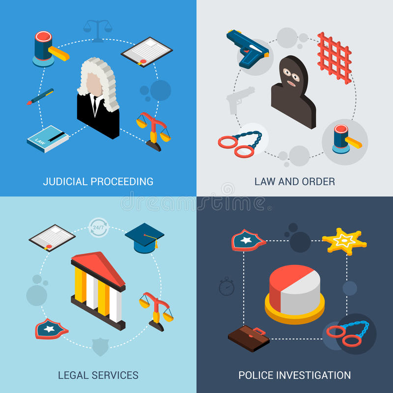 Law Isometric Set. With judical proceeding legal services police investigation icons isolated vector illustration stock illustration