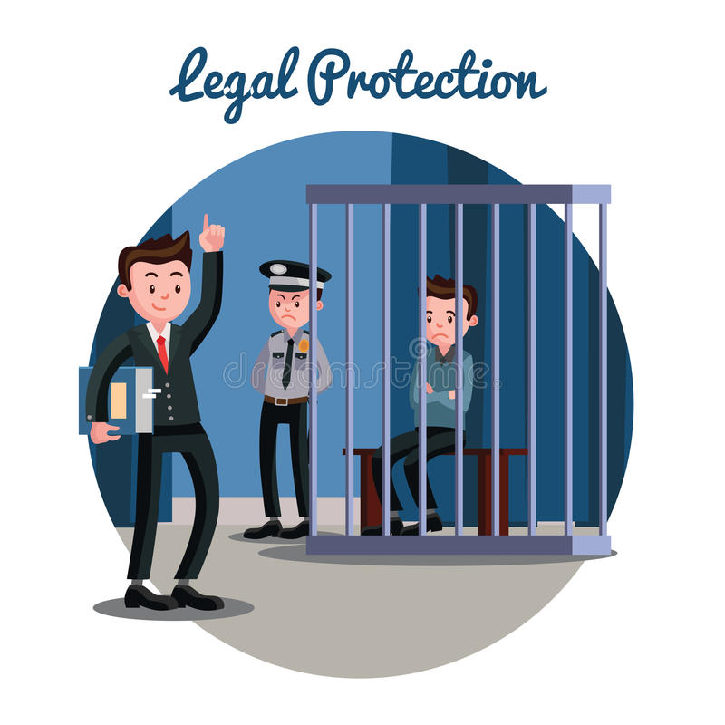Law Judicial System Template. With attorney police officer and accused sitting in cage vector illustration royalty free illustration