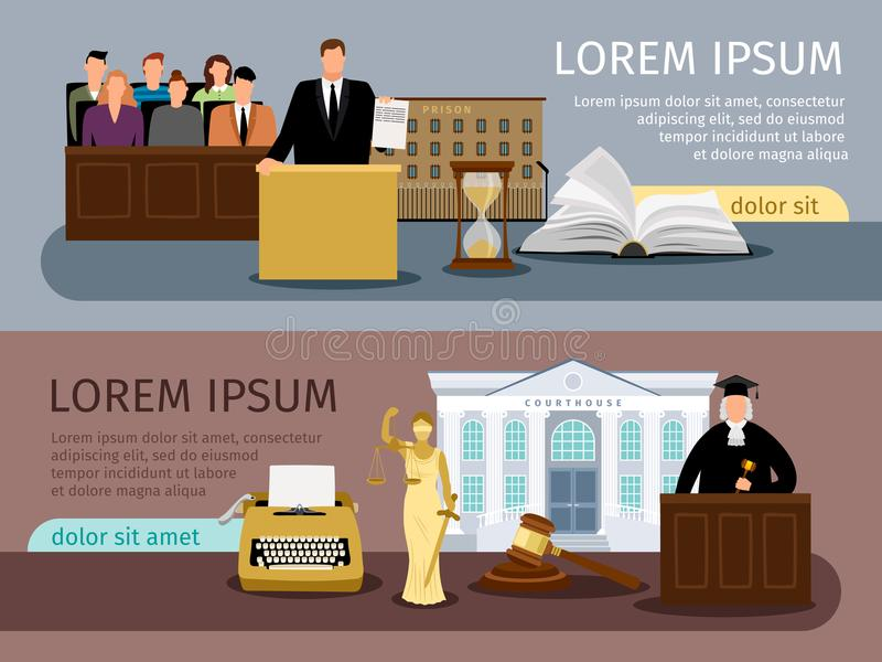 Law and justice banners stock illustration