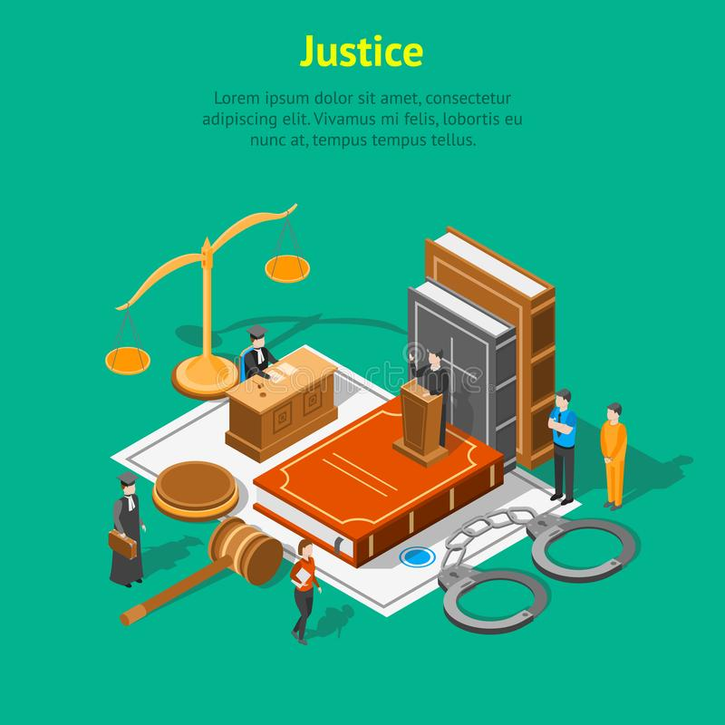 Law Justice Composition Concept Card 3d Isometric View. Vector. Law Justice Composition Concept Card 3d Isometric View Include of Court, Judge, Lawyer, Gavel stock illustration
