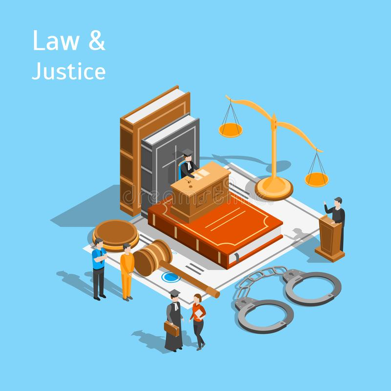 Law Justice Composition Concept 3d Isometric View. Vector stock illustration