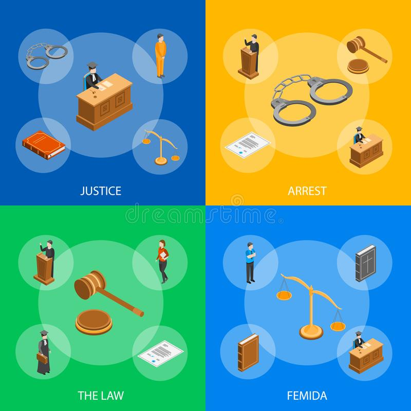Law Justice Composition Concept 3d Isometric View. Vector. Law Justice Composition Concept 3d Isometric View Include of Court, Judge, Lawyer, Gavel, Legislation royalty free illustration