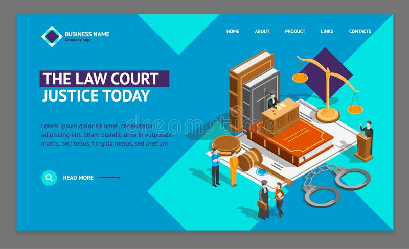 Law Justice Composition Concept Landing Web Page Template 3d Isometric View. Vector. Law Justice Composition Concept Landing Web Page Template 3d Isometric View royalty free illustration