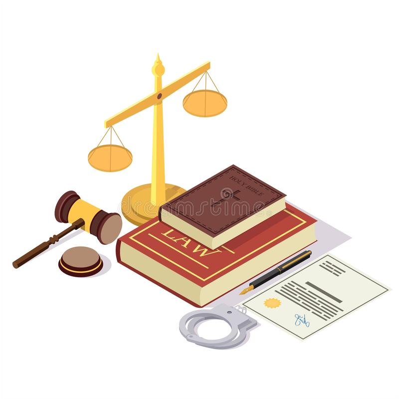 Law and Justice isometric vector concept illustration. Law and Justice composition, vector illustration. Isometric juridical symbols Law book, Bible, scales of vector illustration