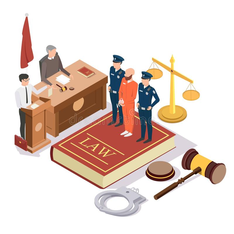 Law and Justice isometric vector concept illustration. Law and Justice composition, vector illustration. Legal trial scene with isometric judge, lawyer royalty free illustration
