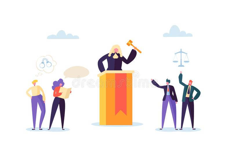Law and Justice Concept with Characters and Judical Elements, Lawbook, Lawyer. Judge with Gavel in Courtroom. Law and Justice Concept with Characters and Judical royalty free illustration