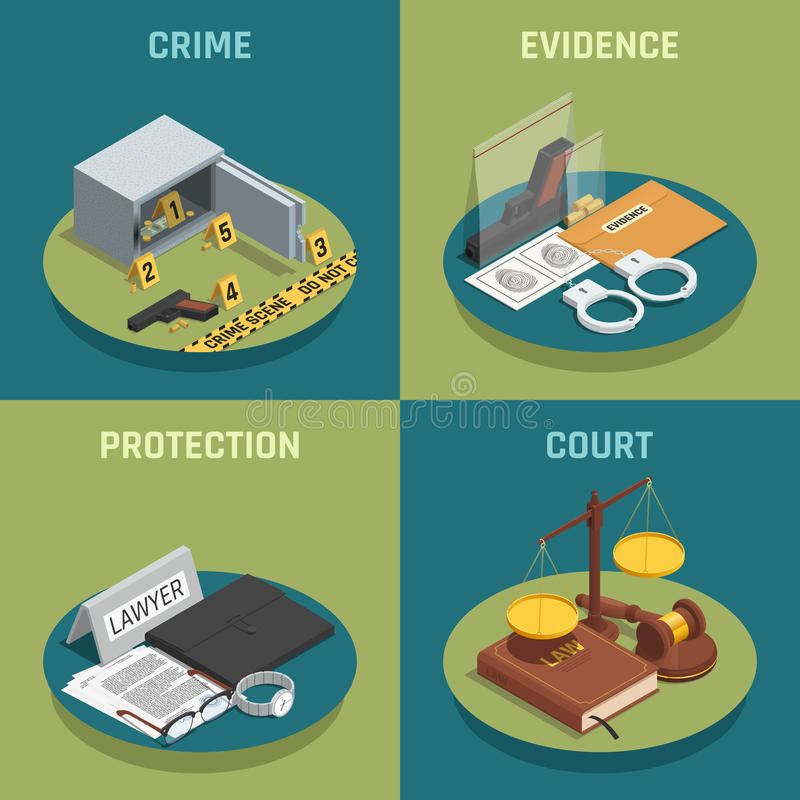 Law Justice Concept Isometric Icons. Law justice 4 isometric icons concept square composition with crime evidence and court symbols isolated vector illustration stock illustration