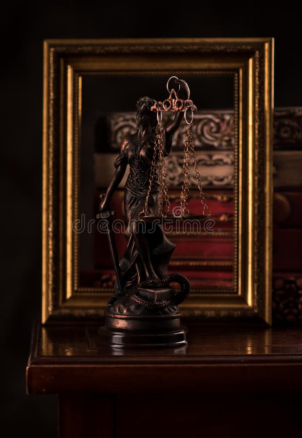 Statue Justice and books. Law and justice concept. Statue Justice and books royalty free stock image