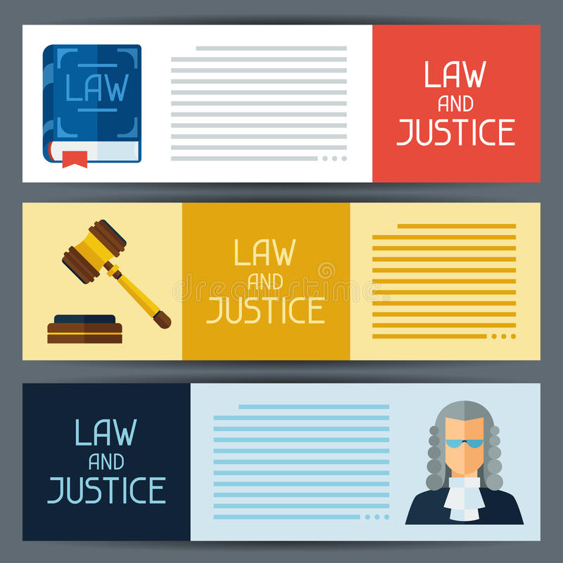 Law and justice horizontal banners in flat design royalty free illustration