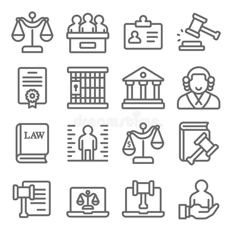 Law and justice icons set vector illustration. Contains such icon as  Attorney, Criminals, Cyber Law, Criminal and more. Expanded. Law and justice icons set stock illustration