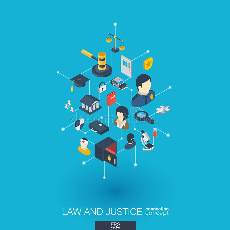Law and justice integrated 3d web icons. Digital network isometric concept. Law, justice integrated 3d web icons. Digital network isometric interact concept stock illustration