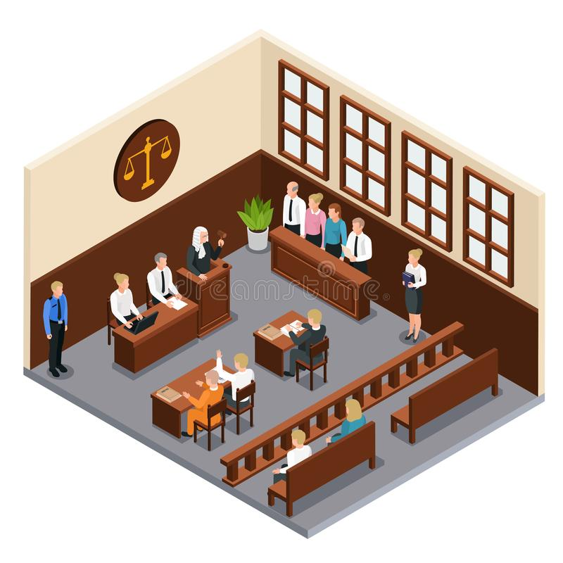 Law Justice Isometric Composition. Law justice court trial isometric composition with courtroom interior defendant lawyer judge officer jury witnesses vector vector illustration