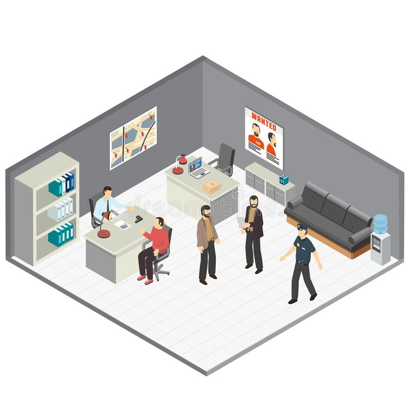 Law Justice Isometric Composition. Law justice detectives office isometric composition with crime case investigators interview witness reconstructing incident stock illustration