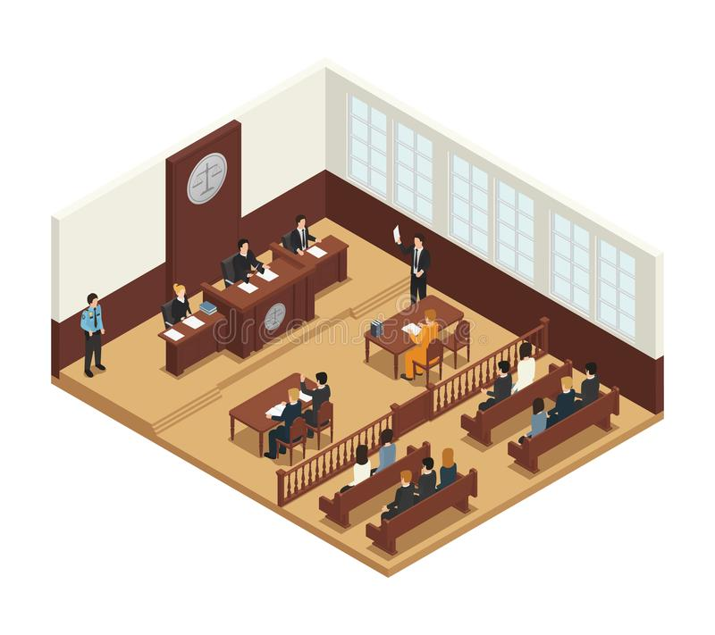 Law Justice Isometric Composition Icon stock illustration