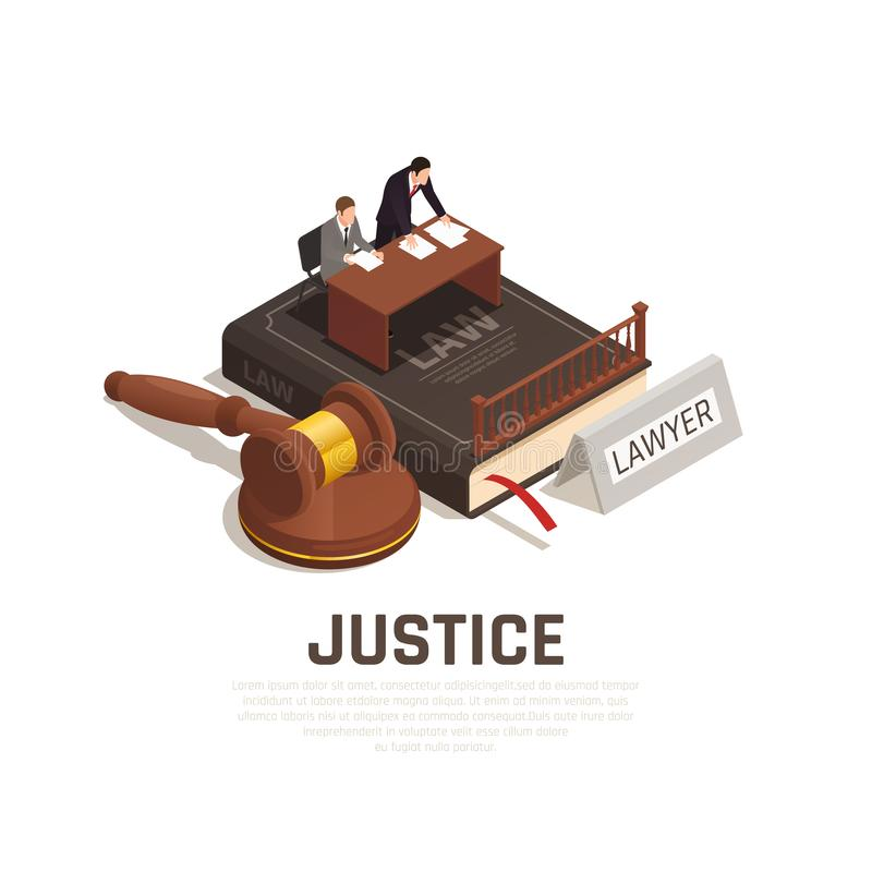 Law Justice Isometric Composition. Law justice court proceedings isometric composition on civil code book with defense lawyer defendant mallet vector stock illustration
