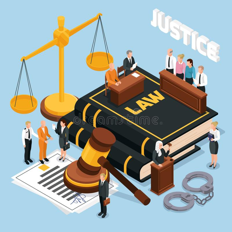 Law Justice Isometric Composition. Law justice jury trial legal court proceedings isometric composition with gavel balance defendant judge police vector royalty free illustration