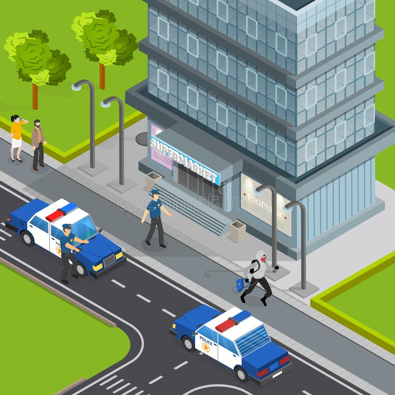 Law Justice Isometric Composition. Law justice police service isometric composition with burglar caught stealing handbag from pedestrians arrest scene vector royalty free illustration