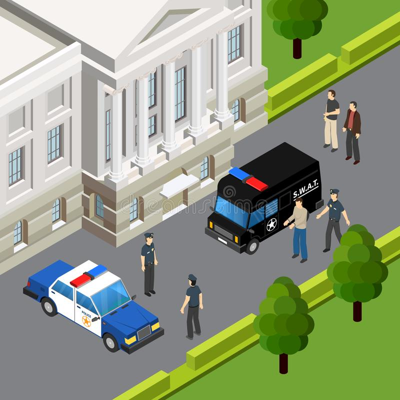 Law Justice Isometric Composition. Law justice system isometric composition with crime suspect arrest by police officers scene summer outdoor vector illustration vector illustration