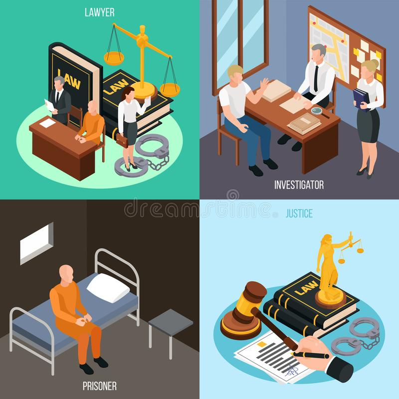 Law Justice Isometric Concept royalty free illustration