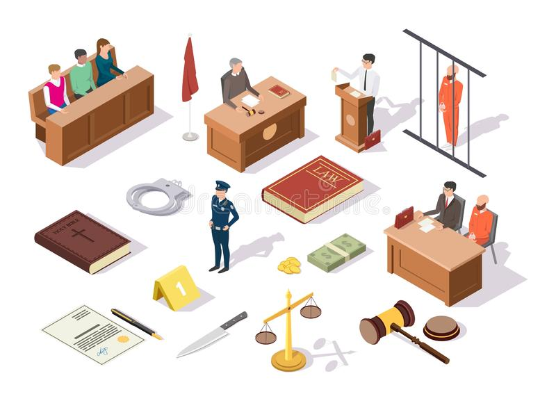Law and justice isometric icon set, vector illustration. Law justice isometric icon set, vector illustration. Legal trial and juridical symbols judge, jury vector illustration