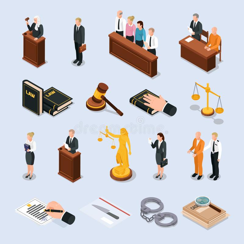 Law Justice Isometric Icons. Law justice court characters accessories isometric icons set with convict judge attorney hand on bible vector illustration vector illustration