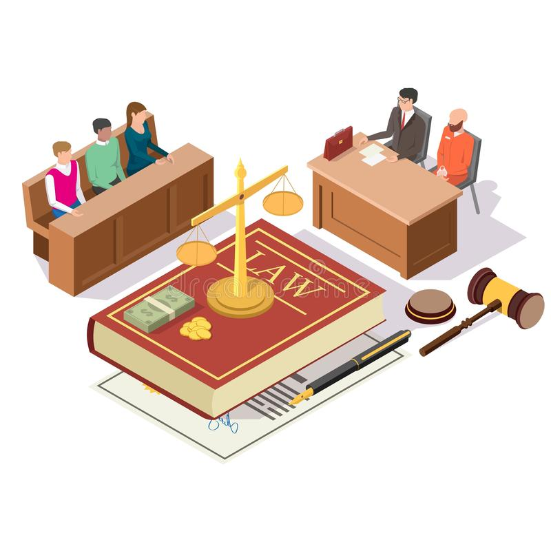 Law and Justice isometric vector concept illustration. Law and Justice composition, vector illustration. Criminal trial in courtroom with isometric jury vector illustration