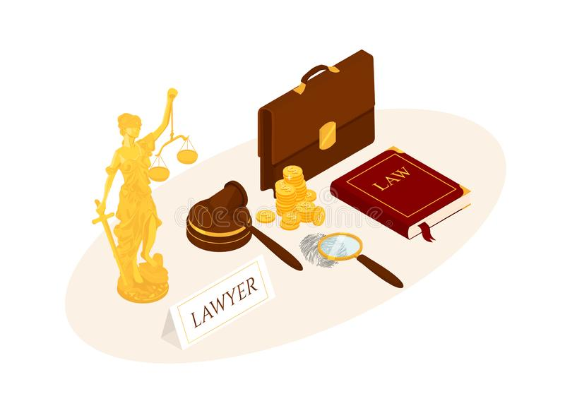Law and justice isometric. Vector illustration. Legal law concept stock illustration