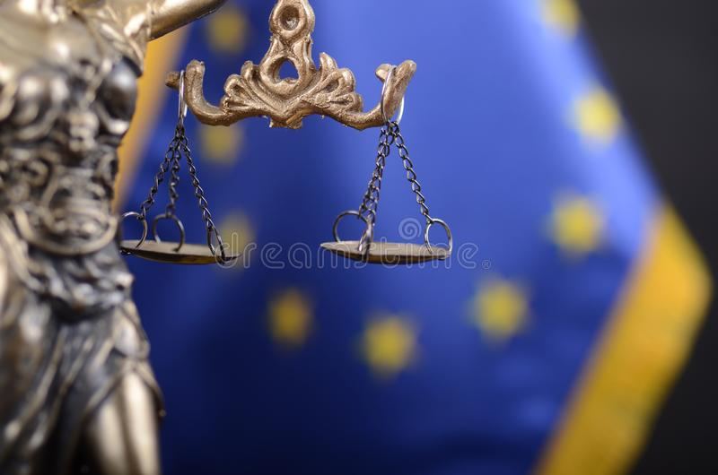 Scales of Justice, Justitia, Lady Justice in front of the Europe stock image
