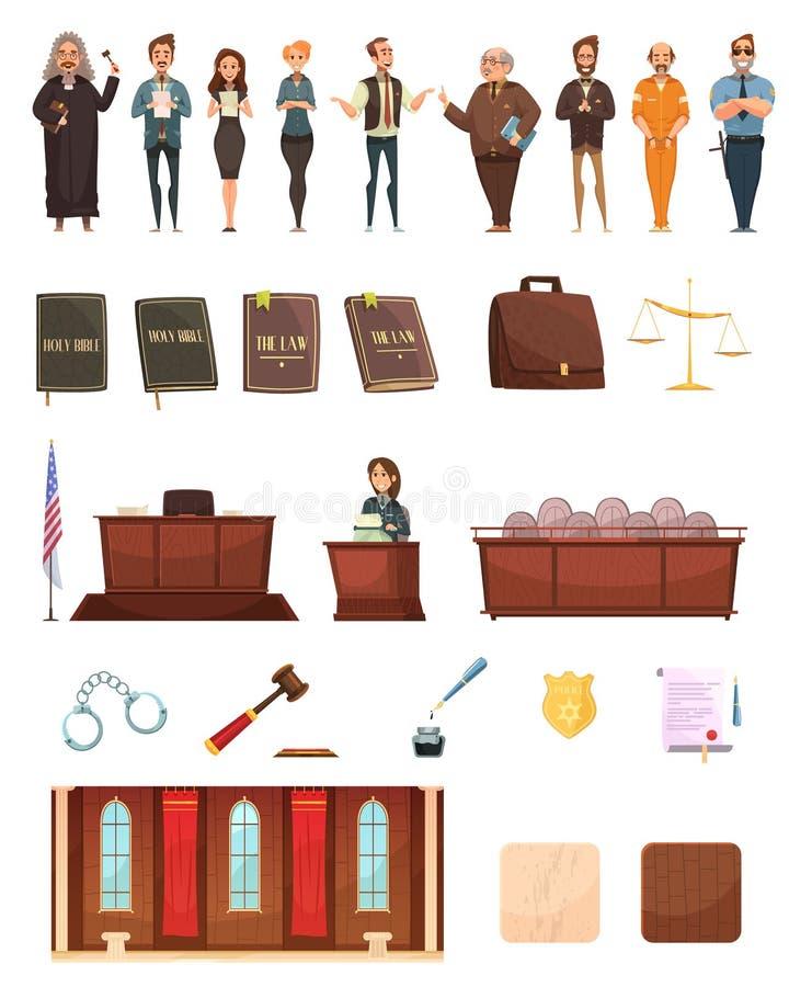 Law Justice Retro Cartoon Icons Set stock illustration