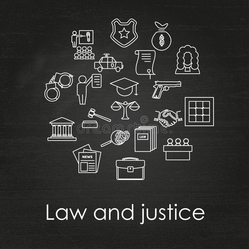 Law and justice. Set of law and justice linear icons ,neon light. The legal system, judge, police and lawyer vector illustration stock illustration