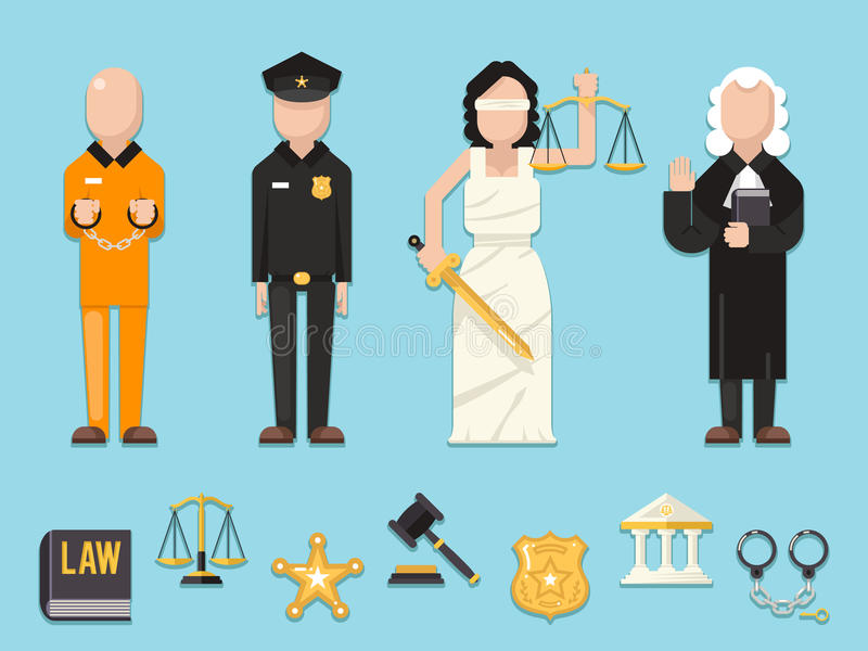 Law justice Themis Femida scales sword police judge prisoner characters icons symbols set flat icon vector illustration royalty free illustration
