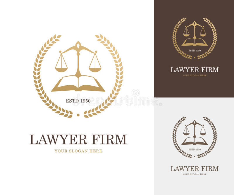 Law label with balance scale, open book and wreath in golden color. Lawyer firm, company or attorney office logo. Justice symbol or emblem design concept stock illustration
