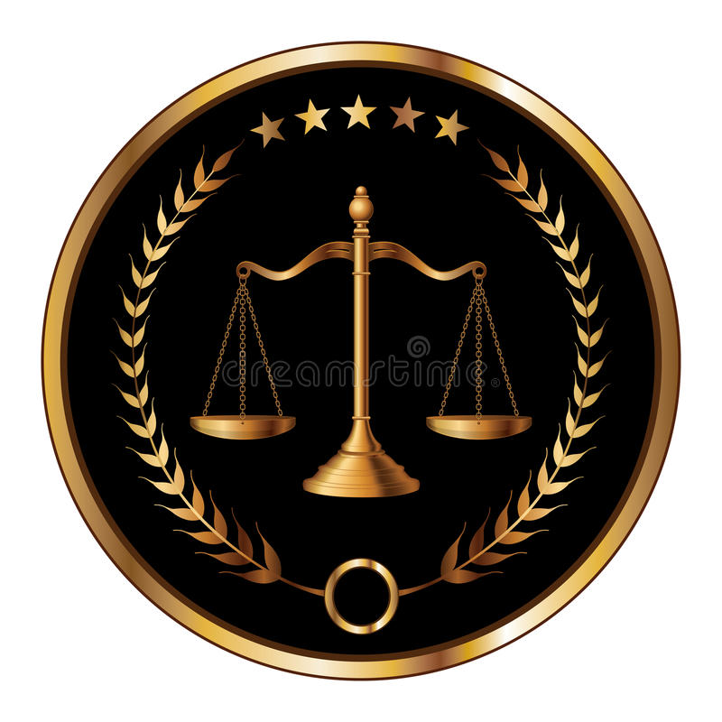 Law or Layer Seal. Illustration of a design for law, lawyers, or law firms that could be used as a logo or seal in striking reflective gold and black. Includes