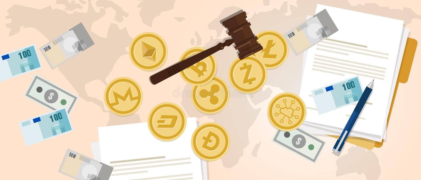 Law legal aspect of crypto-currency coin set bitcoin digital currency royalty free illustration