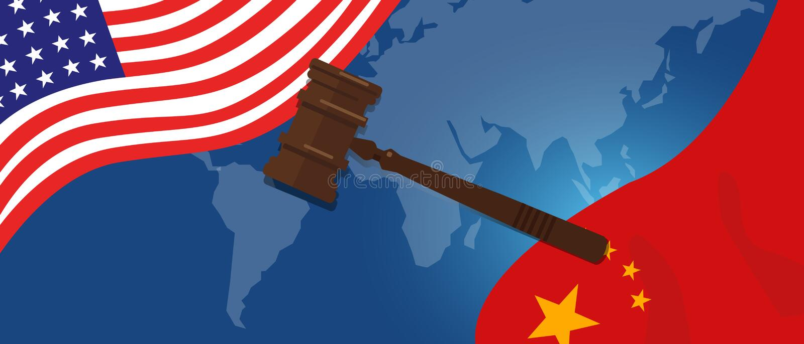 Law legal case trade tension or trade war between US and China, financial concept Flags of USA and China with gavel or royalty free illustration