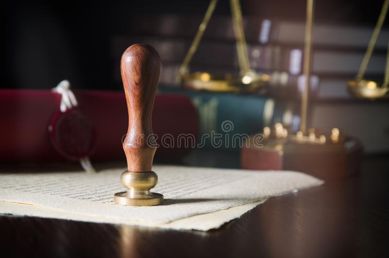 Law, legal, notary public concept. Wax seal on handmade paper stock photo
