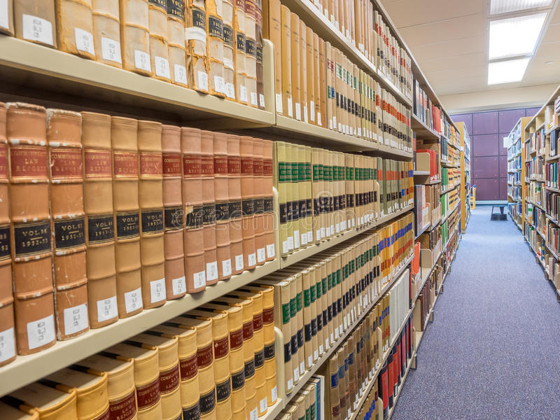 Law Library stacks stock image