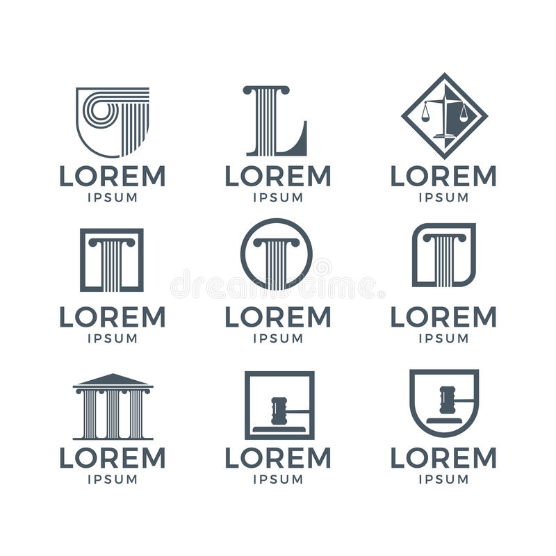 Law Logo Set. Modern and sophisticated law logo set vector illustration