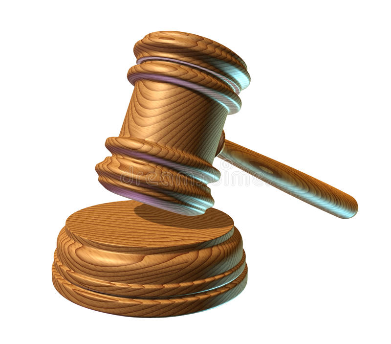 Law mallet. Judge mallet representing judgement in a court of law