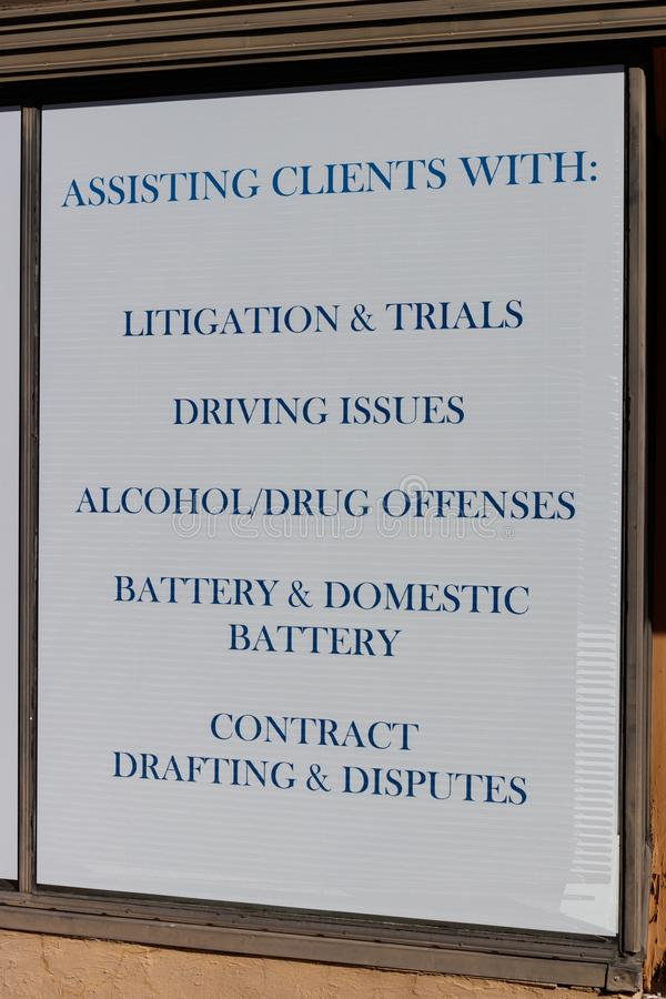 Law office advertisement with offenses the lawyer specializes in I. Law office advertisement with offenses the lawyer specializes in stock images
