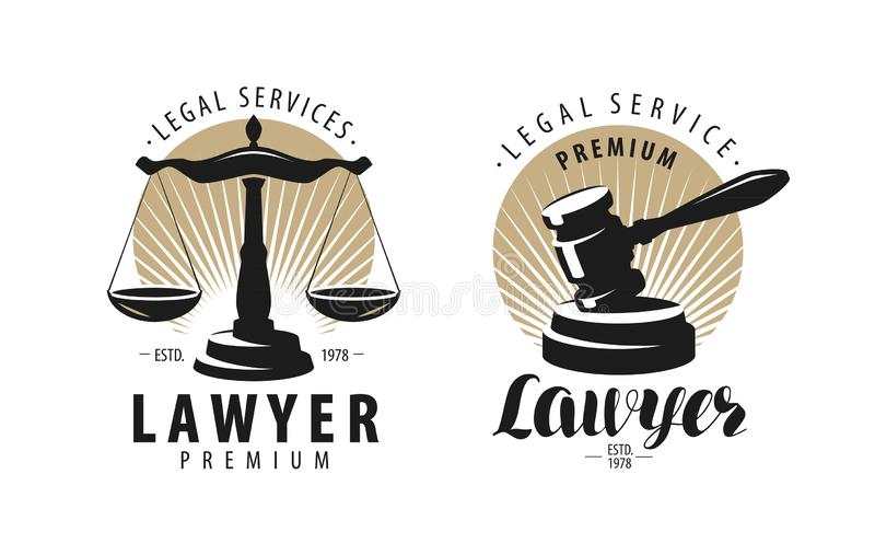Law office, attorney, lawyer logo or label. Scales of justice, gavel symbol. Vector illustration royalty free illustration