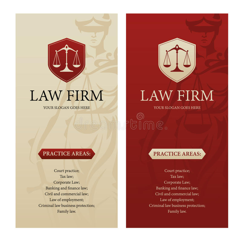 Law office, firm or company vertical banners. Vertical design template for law office, firm or company with justice scales logo and Themis statue silhouette on stock illustration