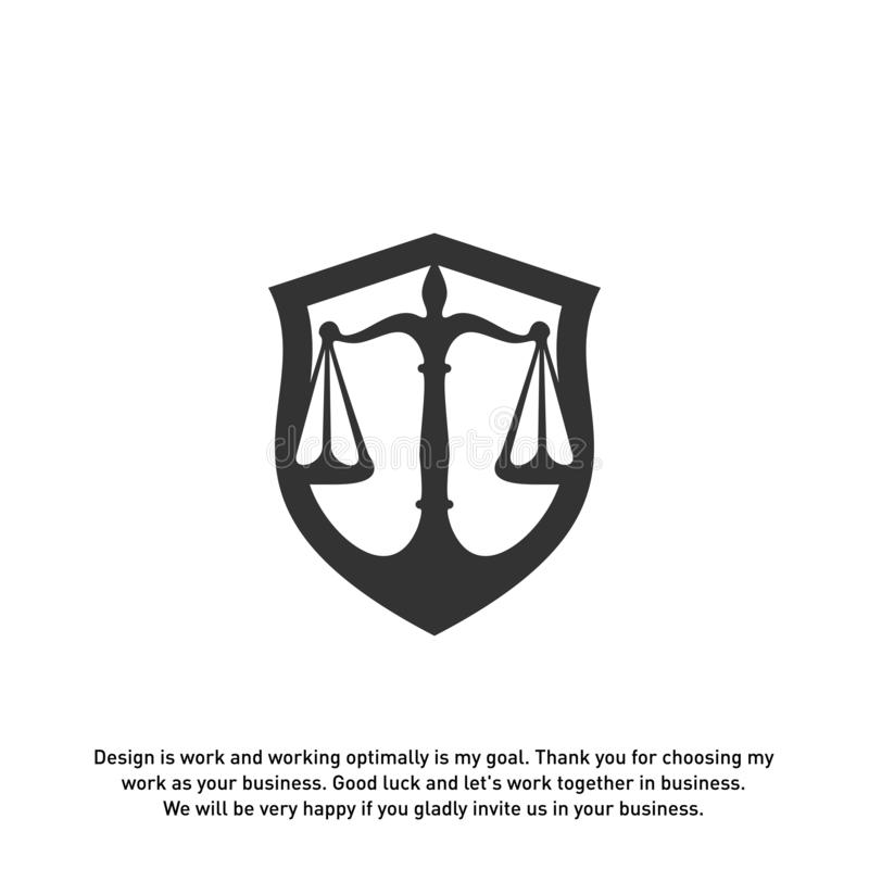 Law office logo in the form of shield with greece column and scales. The judge, Law firm Vector.  vector illustration