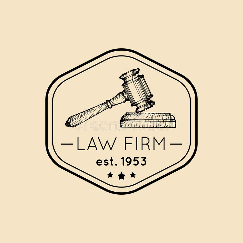 Law office logo with gavel illustration. Vector vintage attorney, advocate label, juridical firm badge. royalty free illustration