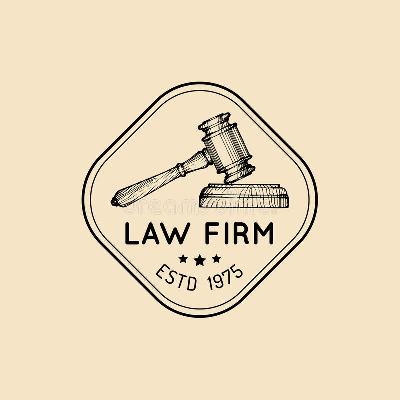 Law office logo with gavel illustration. Vector vintage attorney, advocate label, juridical firm badge. stock illustration