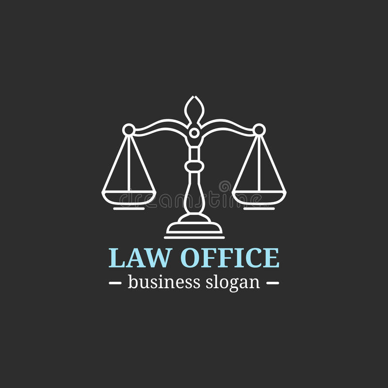 Law office logo with scales of justice illustration. Vector vintage attorney, advocate label, juridical firm badge. Act, principle, legal icon design vector illustration