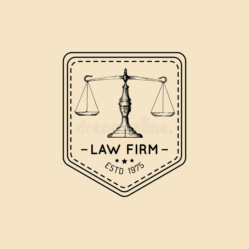 Law office logo with scales of justice illustration. Vector vintage attorney, advocate label, juridical firm badge. vector illustration