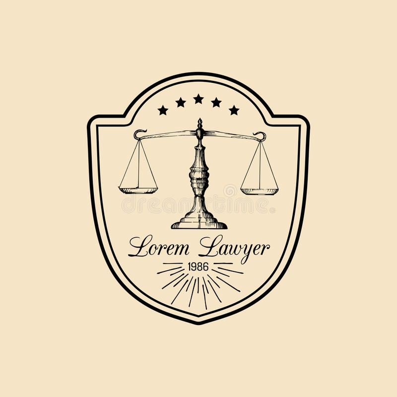 Law office logo with scales of justice illustration. Vector vintage attorney, advocate label, juridical firm badge. Act, principle, legal icon design stock illustration