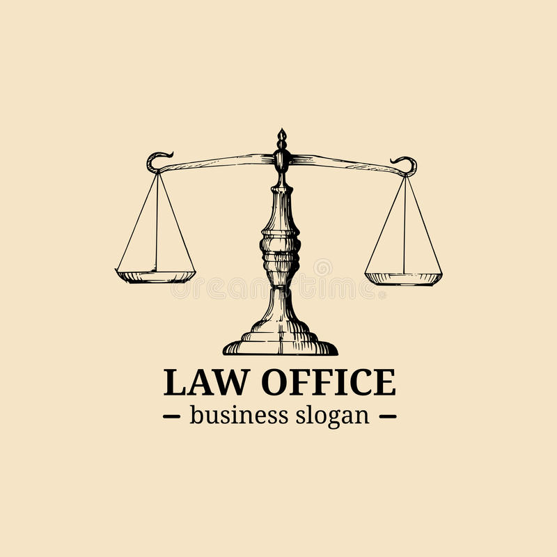 Law office logo with scales of justice illustration. Vector vintage attorney, advocate label, juridical firm badge. stock illustration